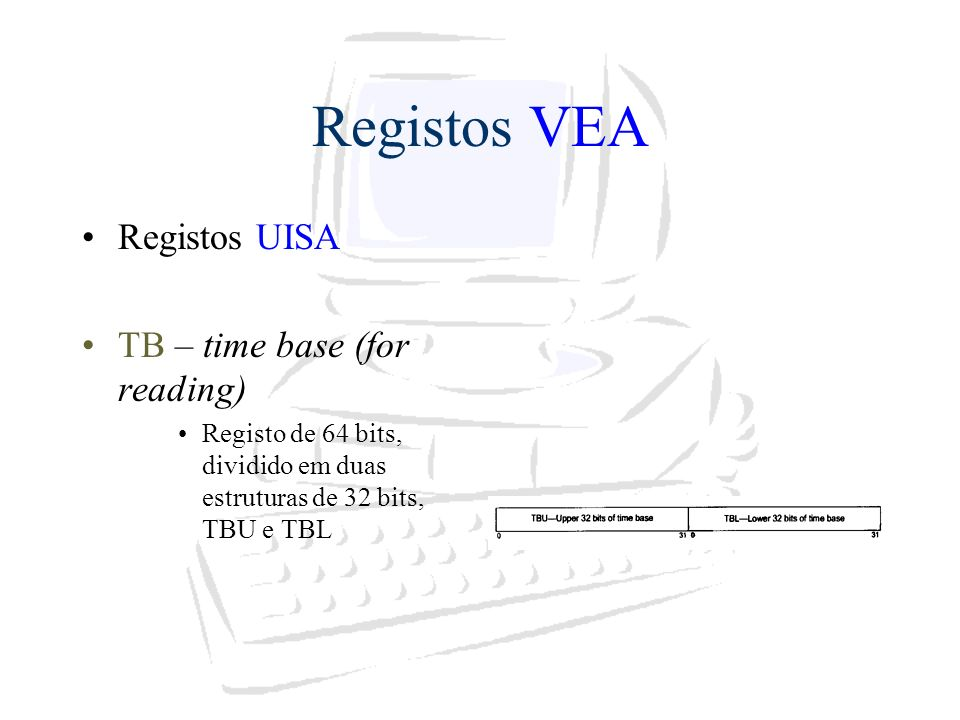 Registos VEA Registos UISA TB – time base (for reading)