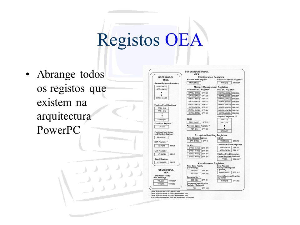 Registos OEA Abrange todos os registos que existem na arquitectura PowerPC