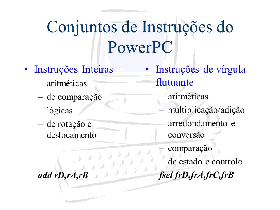 Conjuntos de Instruções do PowerPC