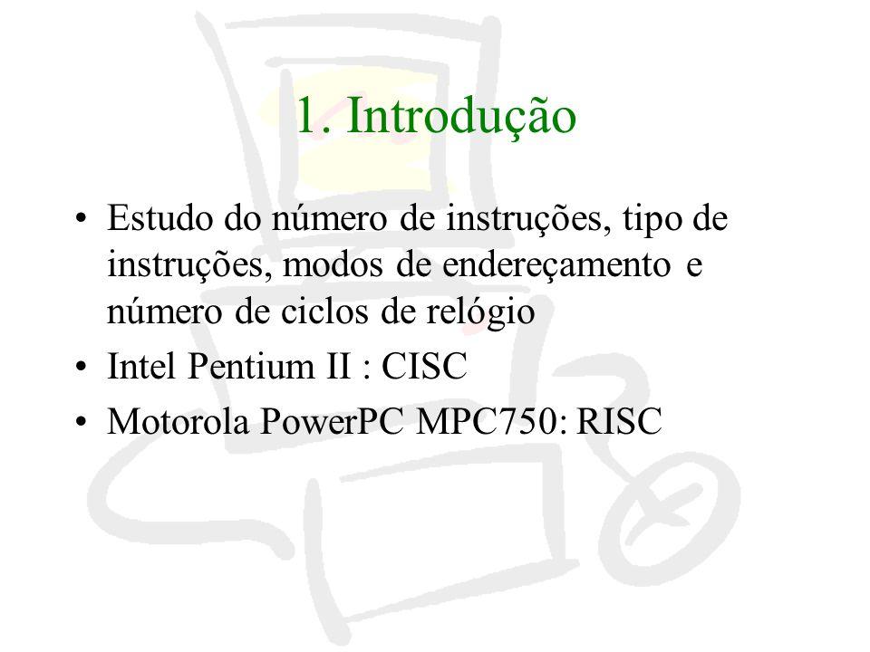 1. Introdução Estudo do número de instruções, tipo de instruções, modos de endereçamento e número de ciclos de relógio.