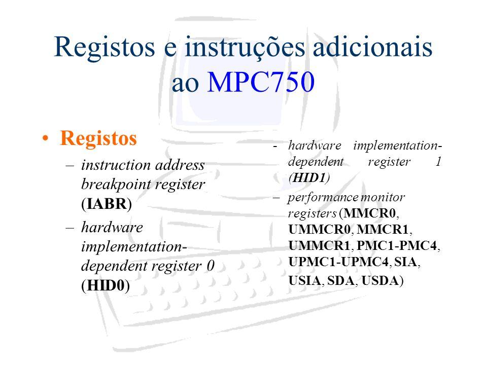 Registos e instruções adicionais ao MPC750
