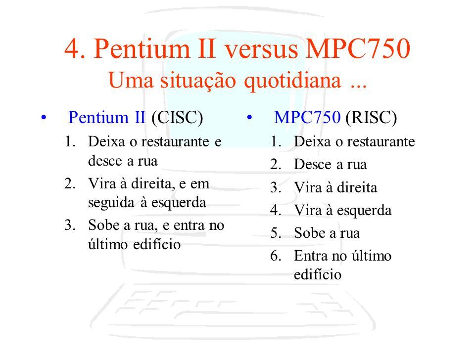 4. Pentium II versus MPC750 Uma situação quotidiana ...