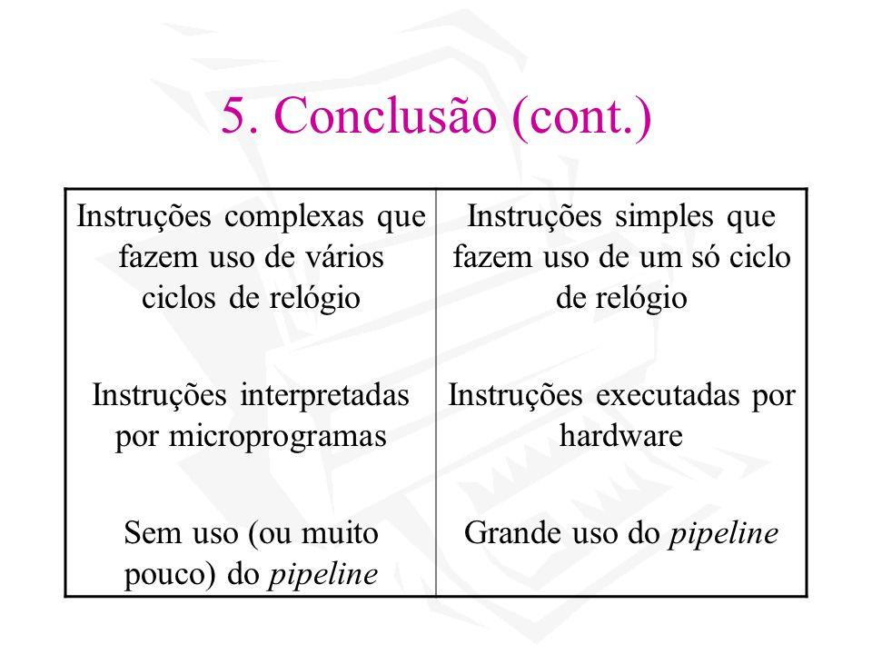 5. Conclusão (cont.) Instruções complexas que fazem uso de vários ciclos de relógio. Instruções interpretadas por microprogramas.