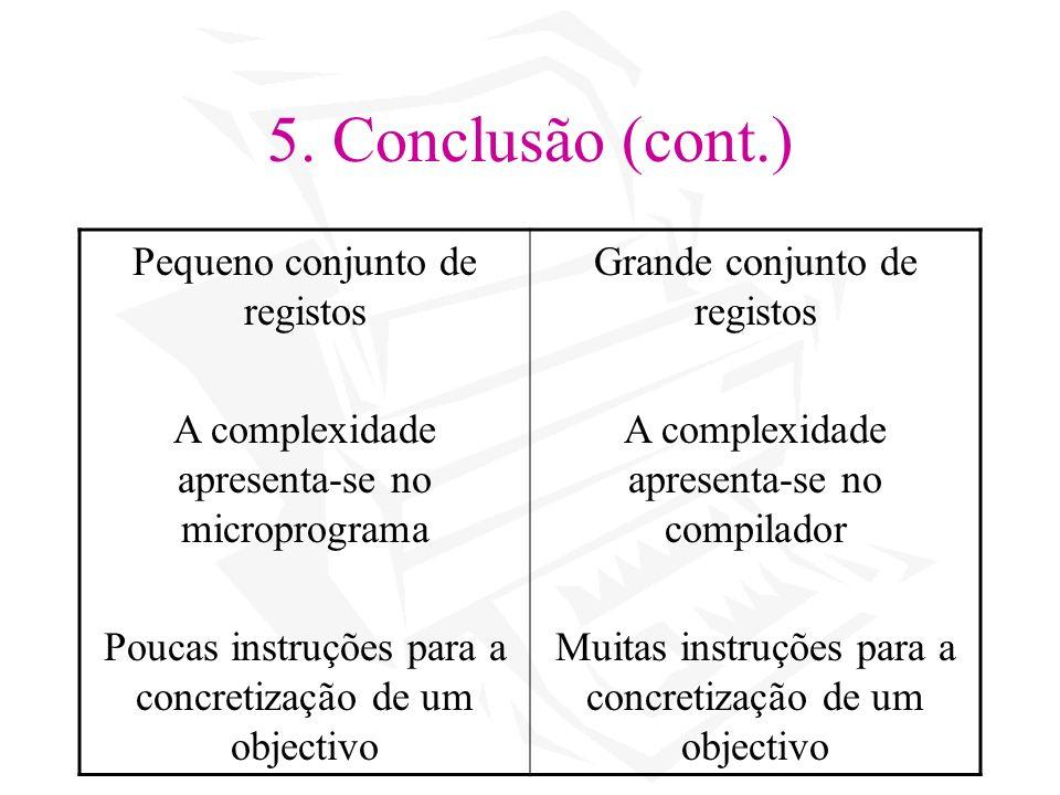 5. Conclusão (cont.) Pequeno conjunto de registos