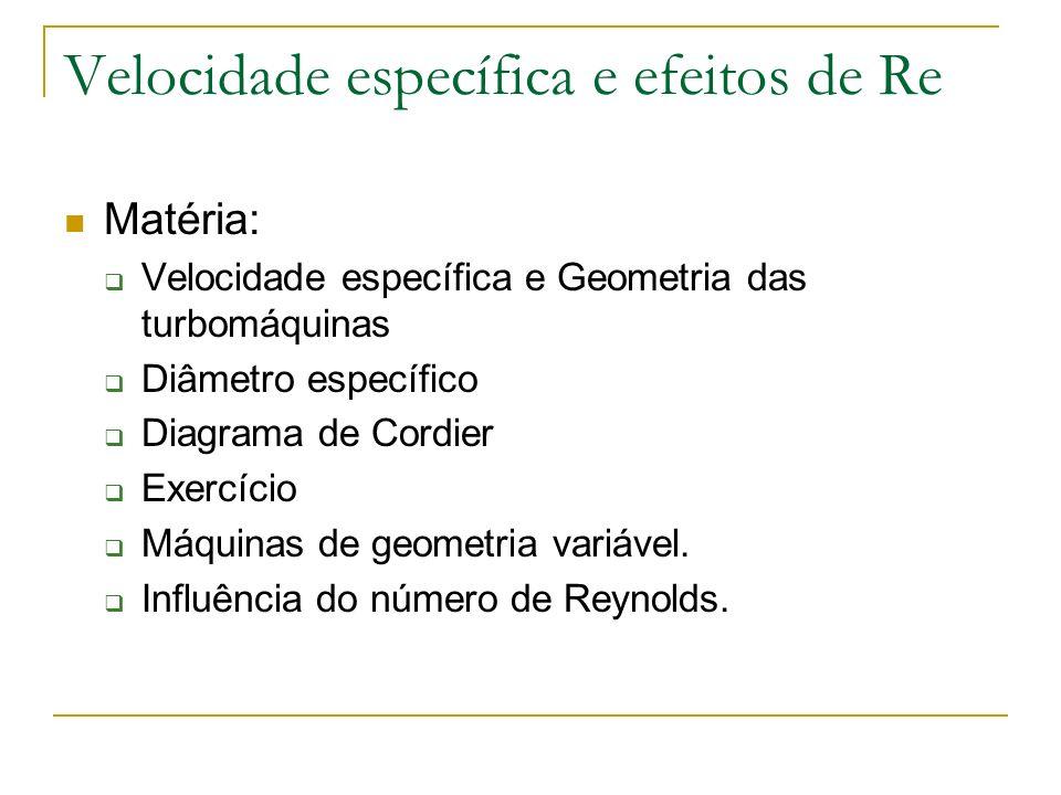 Velocidade específica e efeitos de Re