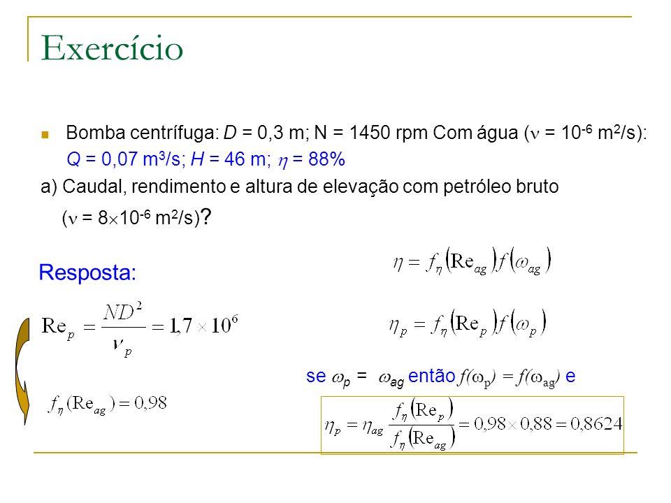 ExercícioBomba centrífuga: D = 0,3 m; N = 1450 rpm Com água ( = 10-6 m2/s): Q = 0,07 m3/s; H = 46 m;  = 88%