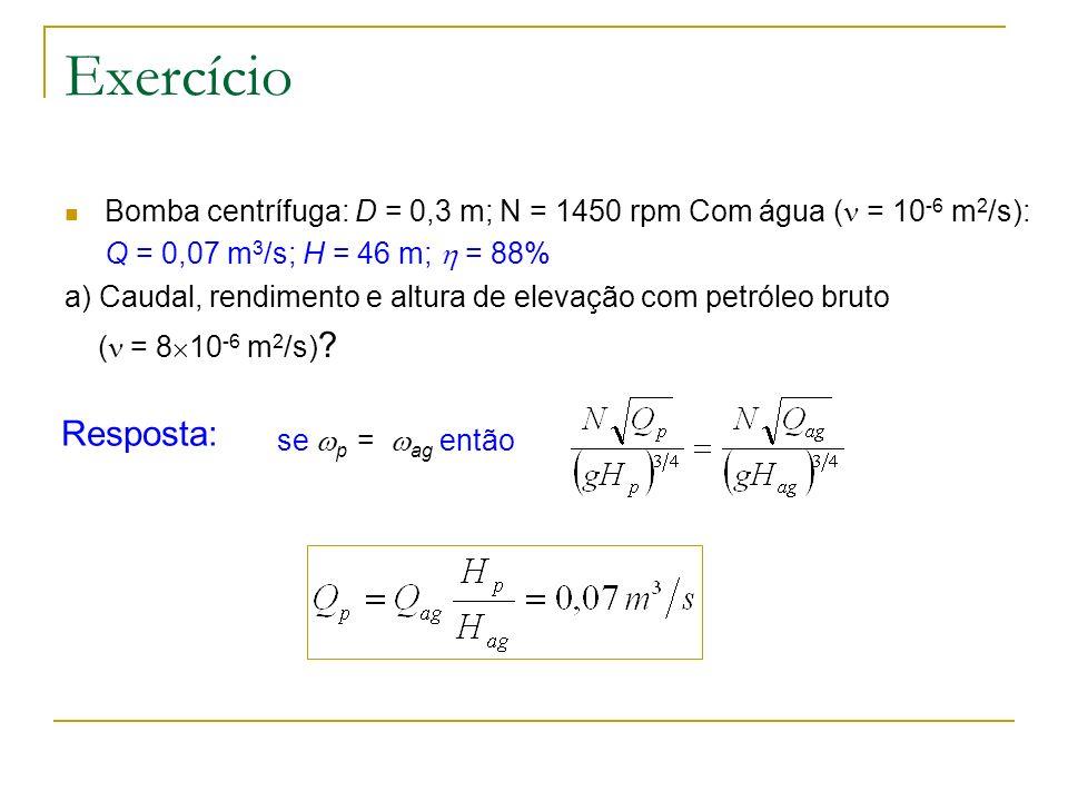 Exercício Bomba centrífuga: D = 0,3 m; N = 1450 rpm Com água ( = 10-6 m2/s): Q = 0,07 m3/s; H = 46 m;  = 88%