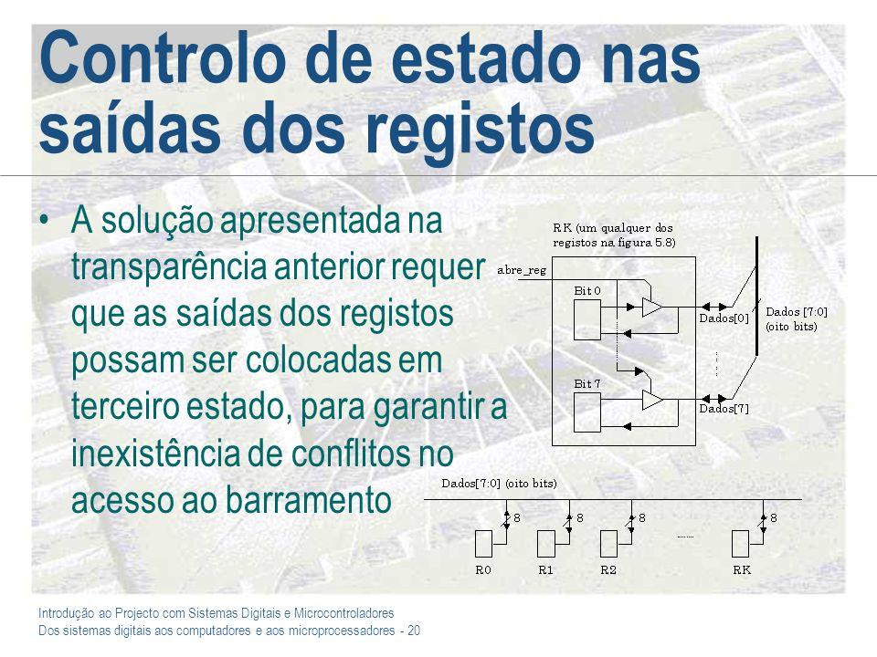 Controlo de estado nas saídas dos registos