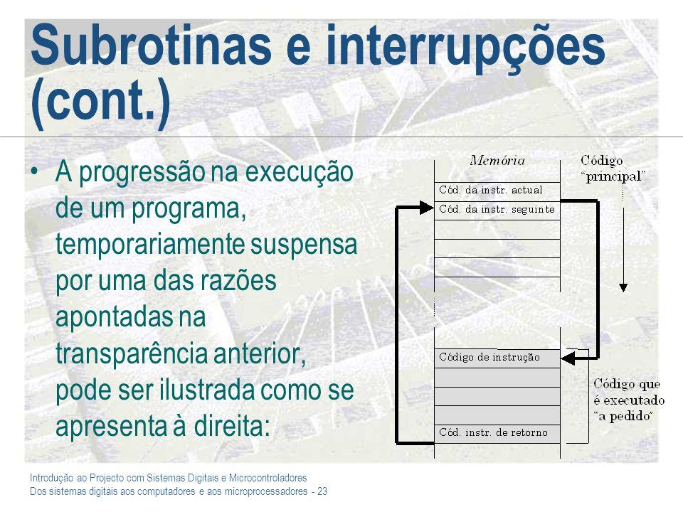 Subrotinas e interrupções (cont.)