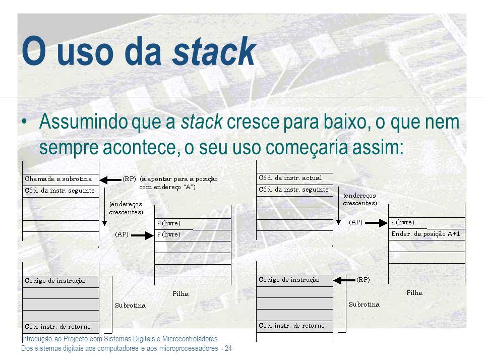 O uso da stack Assumindo que a stack cresce para baixo, o que nem sempre acontece, o seu uso começaria assim: