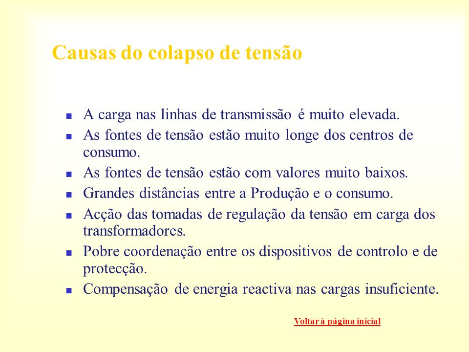 Causas do colapso de tensão