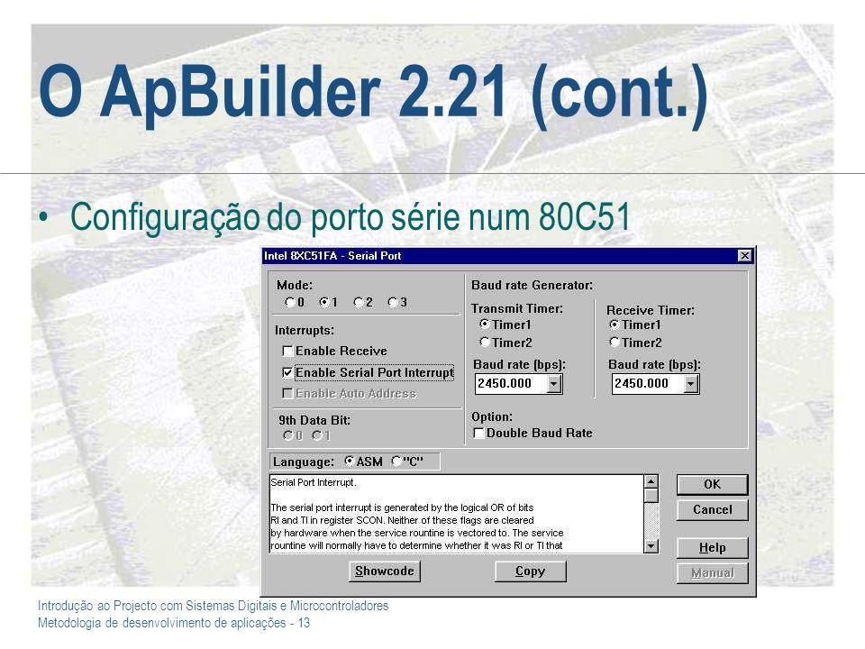 O ApBuilder 2.21 (cont.) Configuração do porto série num 80C51