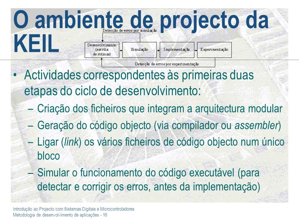 O ambiente de projecto da KEIL