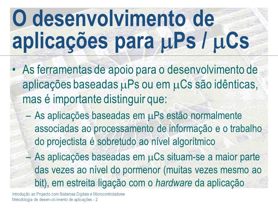 O desenvolvimento de aplicações para Ps / Cs