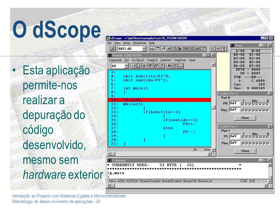 O dScope Esta aplicação permite-nos realizar a depuração do código desenvolvido, mesmo sem hardware exterior.