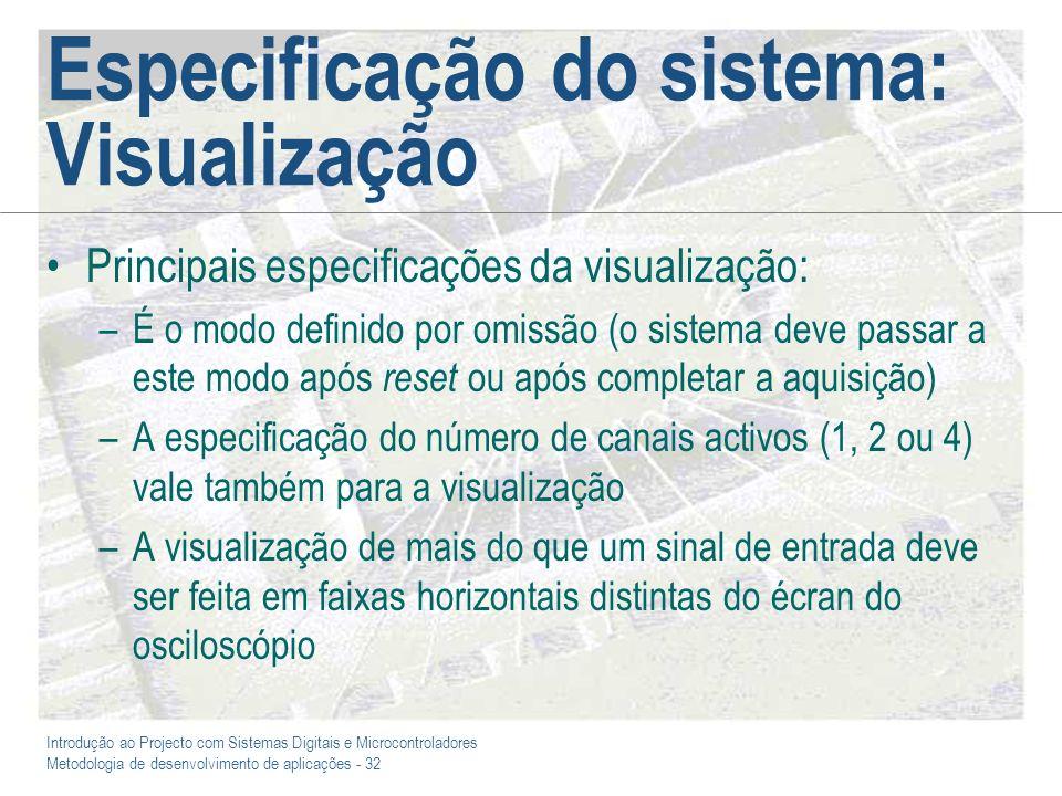 Especificação do sistema: Visualização