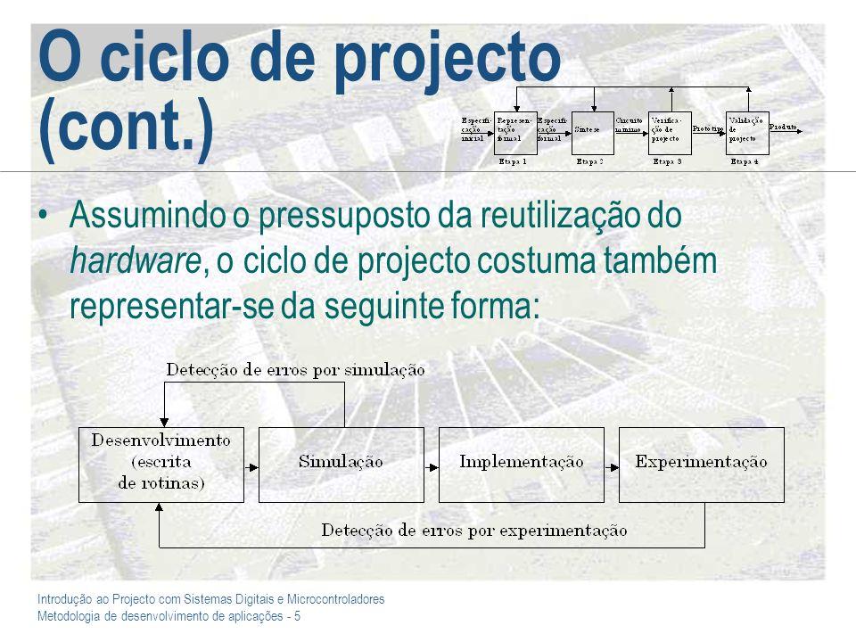 O ciclo de projecto (cont.)