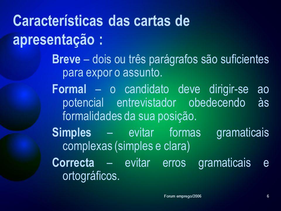 Características das cartas de apresentação :