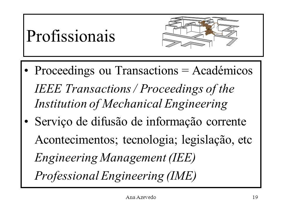 Profissionais Proceedings ou Transactions = Académicos