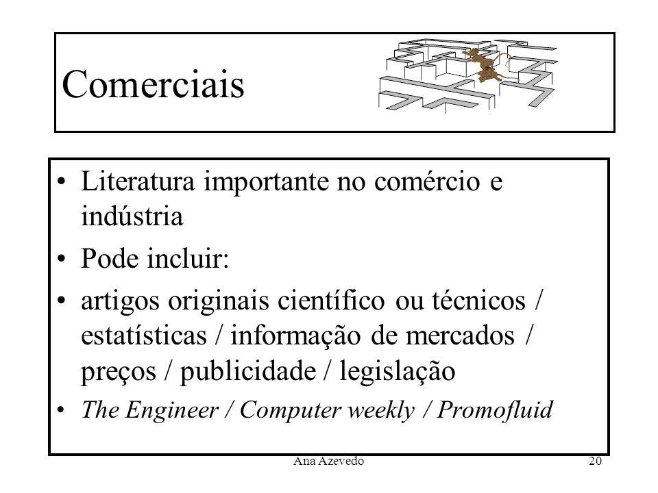 Comerciais Literatura importante no comércio e indústria Pode incluir: