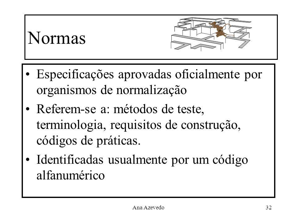 Normas Especificações aprovadas oficialmente por organismos de normalização.
