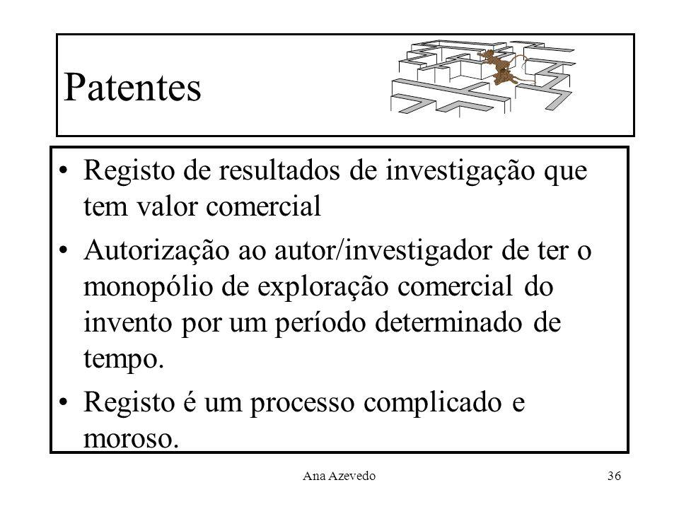 Patentes Registo de resultados de investigação que tem valor comercial