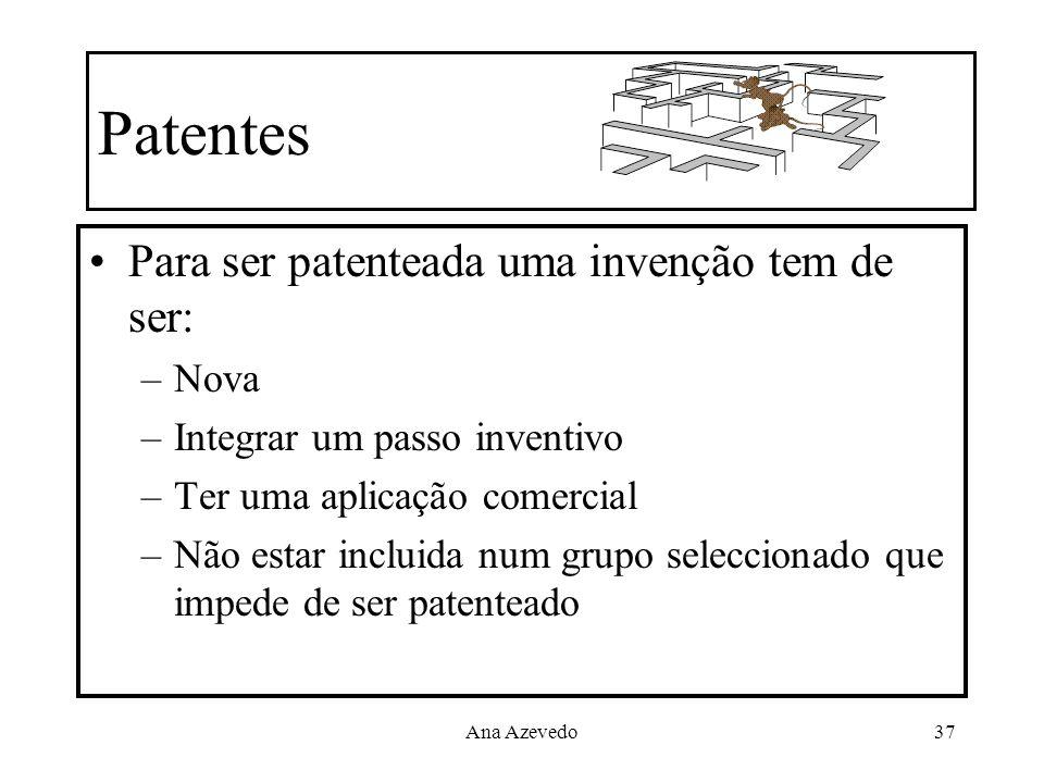 Patentes Para ser patenteada uma invenção tem de ser: Nova