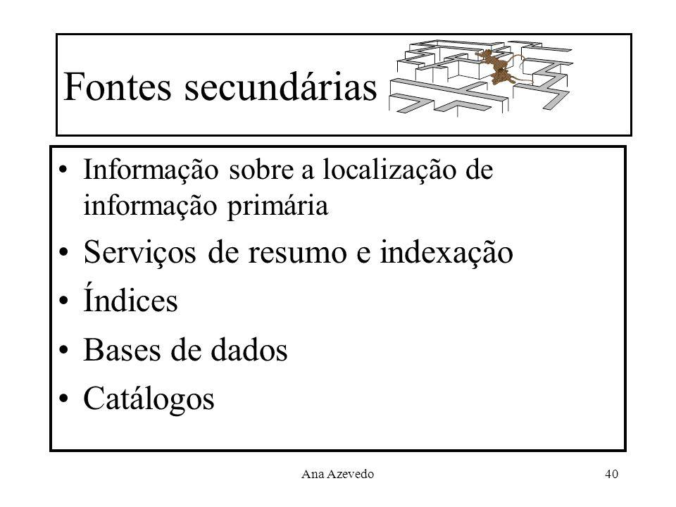 Fontes secundárias Serviços de resumo e indexação Índices