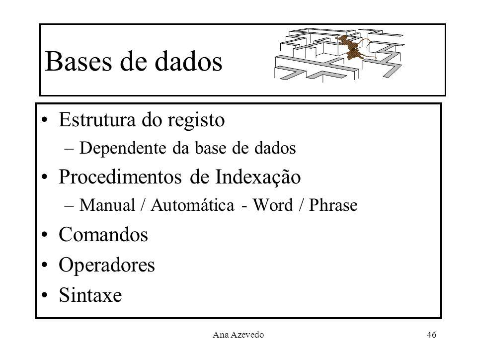 Bases de dados Estrutura do registo Procedimentos de Indexação