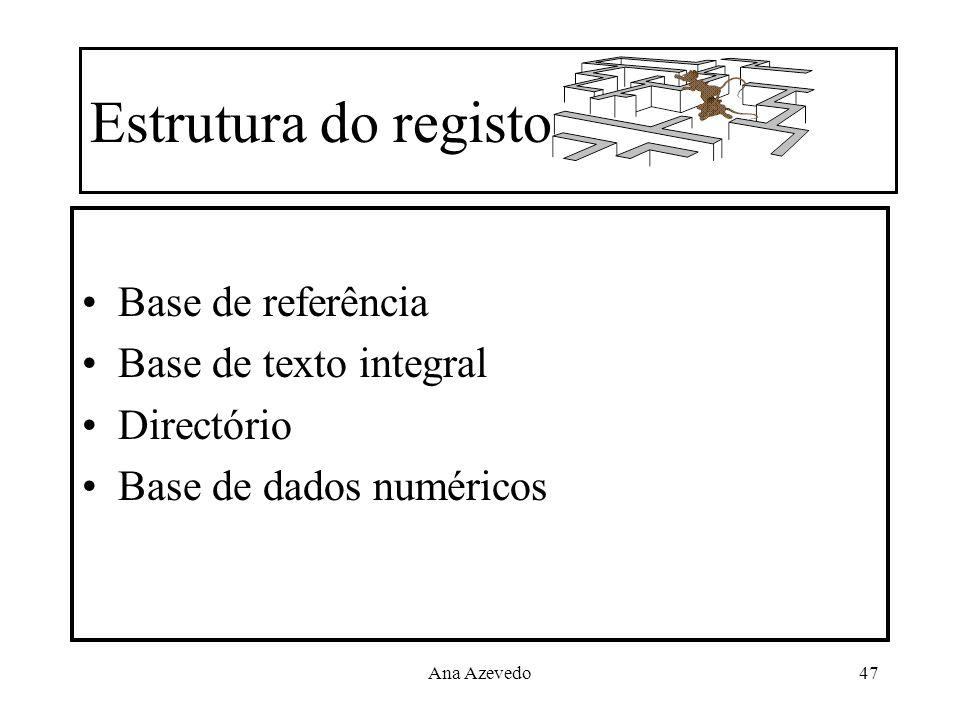 Estrutura do registo Base de referência Base de texto integral