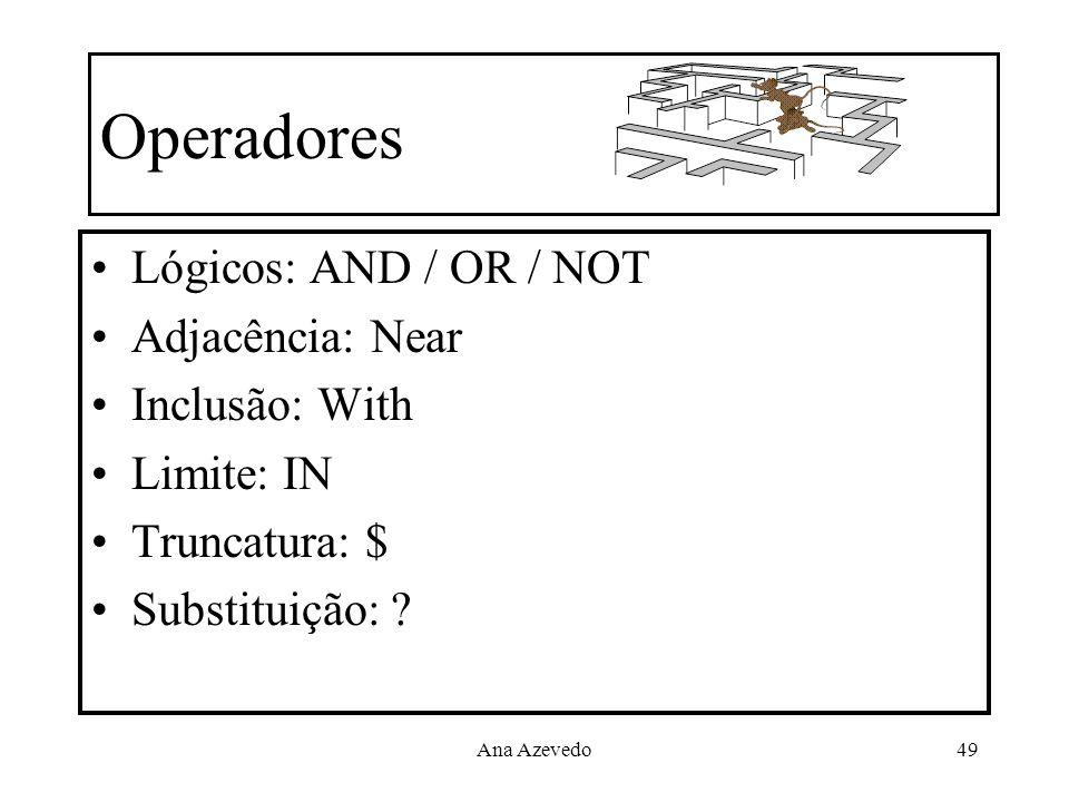 Operadores Lógicos: AND / OR / NOT Adjacência: Near Inclusão: With