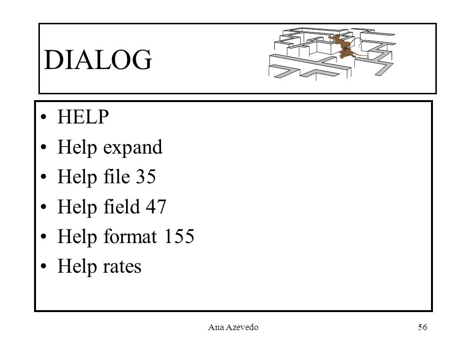 DIALOG HELP Help expand Help file 35 Help field 47 Help format 155
