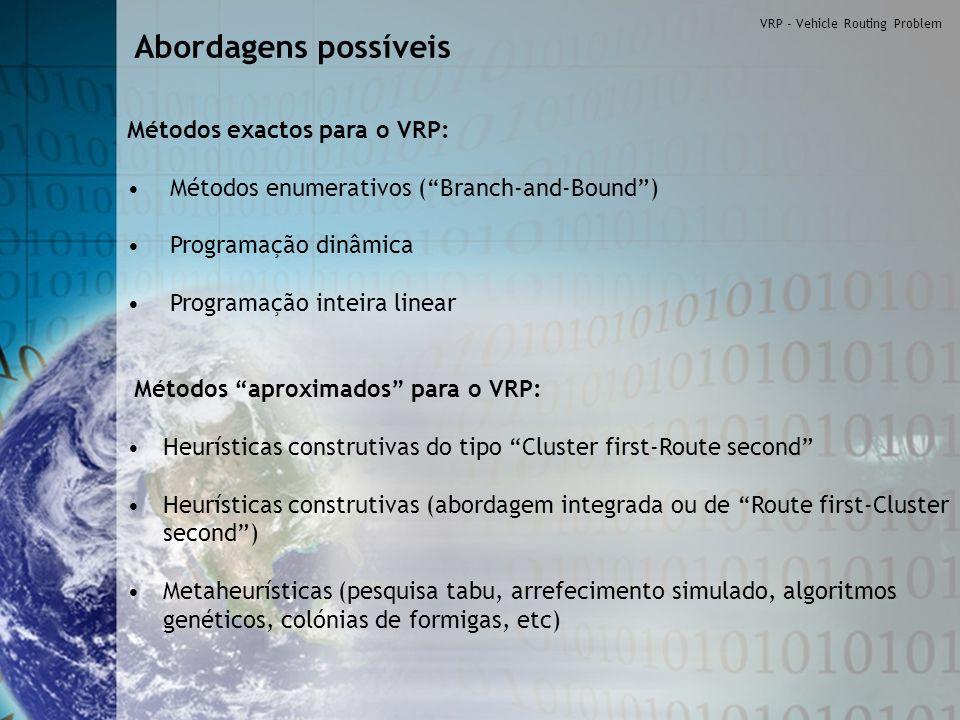 Abordagens possíveis Métodos exactos para o VRP: