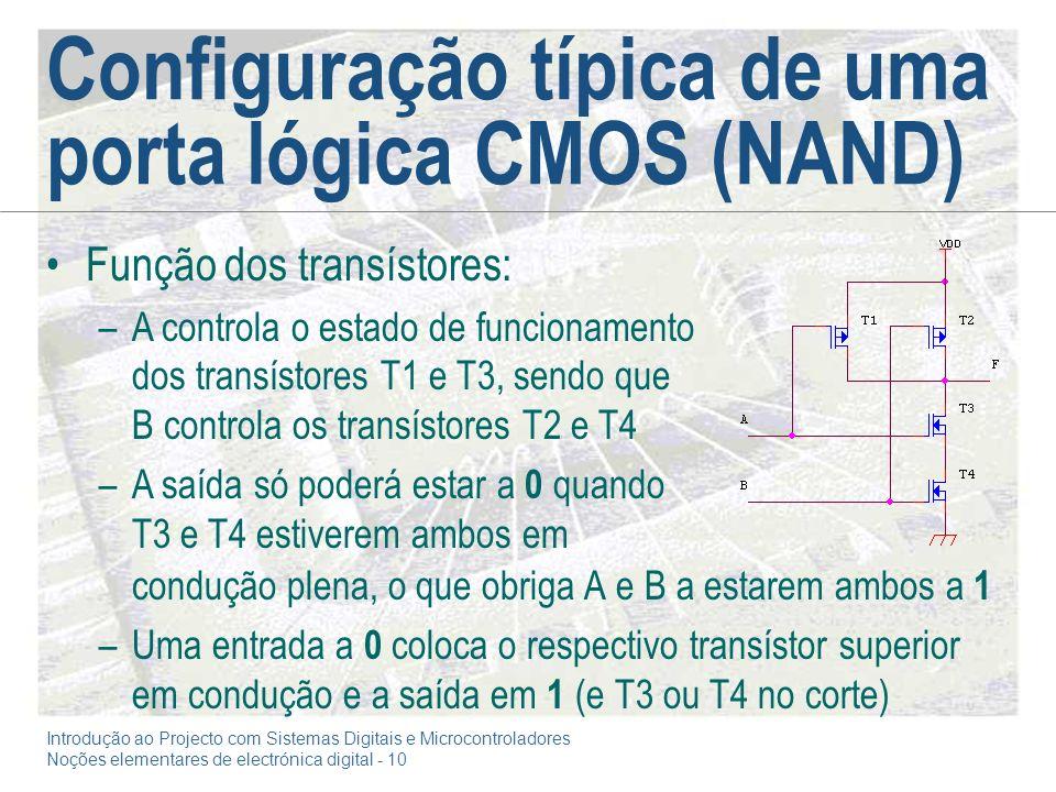 Configuração típica de uma porta lógica CMOS (NAND)