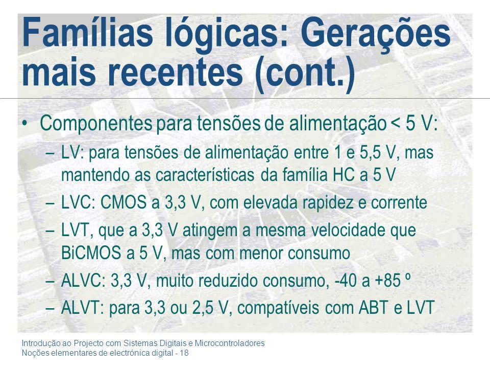 Famílias lógicas: Gerações mais recentes (cont.)