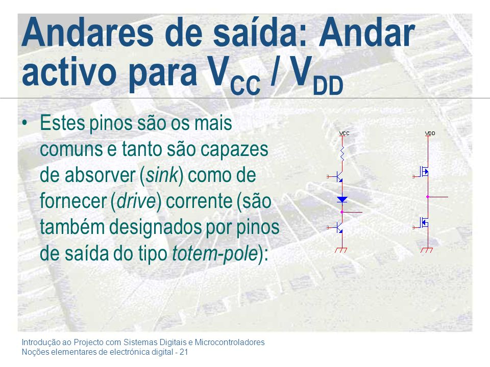 Andares de saída: Andar activo para VCC / VDD