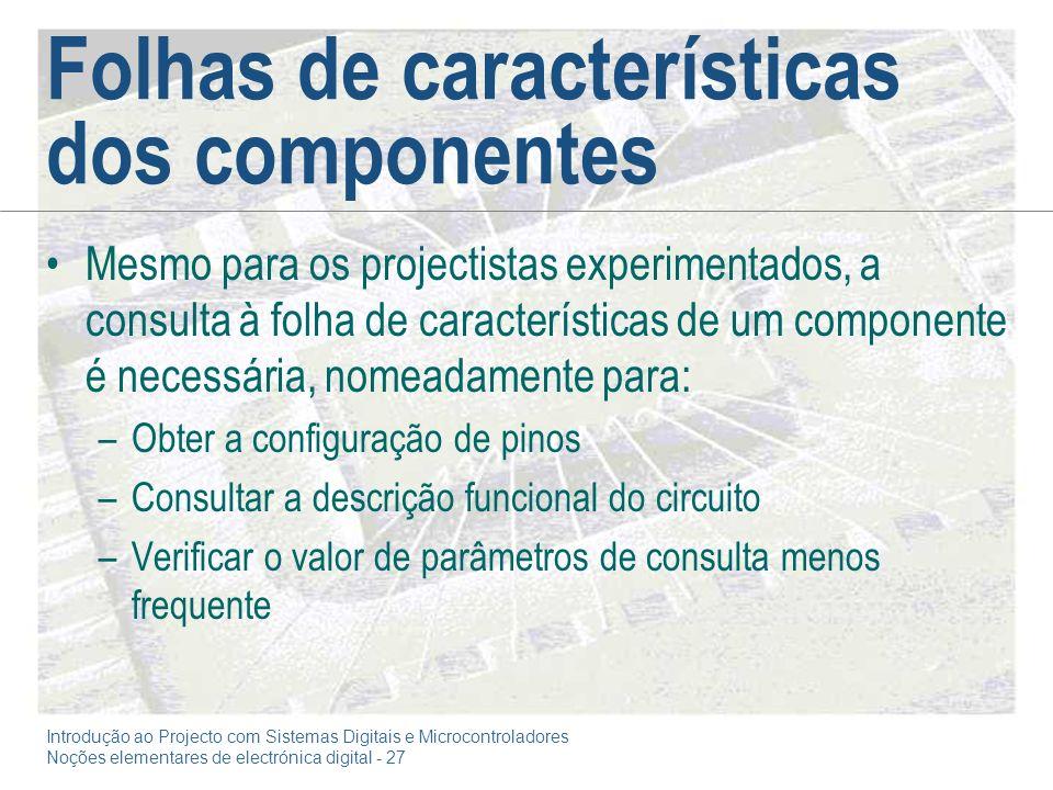Folhas de características dos componentes