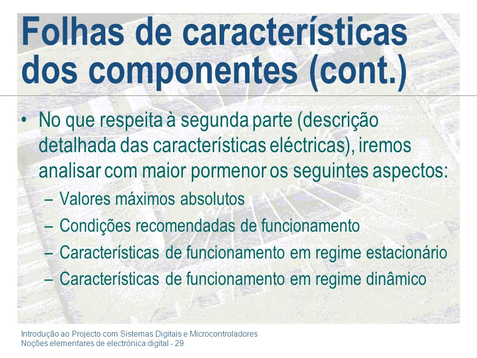 Folhas de características dos componentes (cont.)