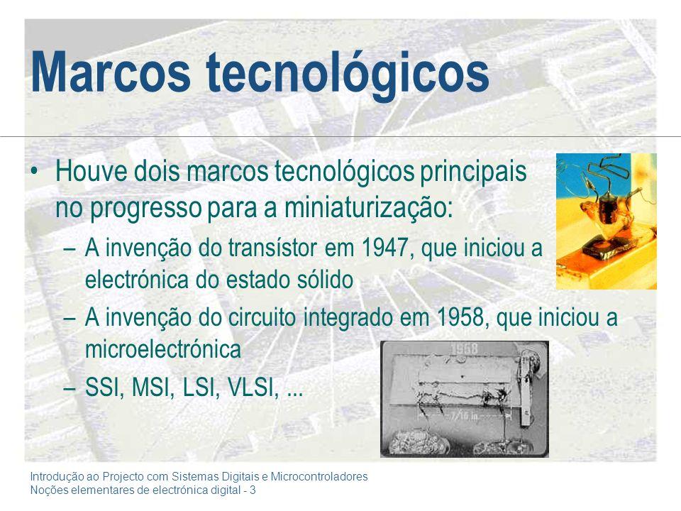 Marcos tecnológicos Houve dois marcos tecnológicos principais