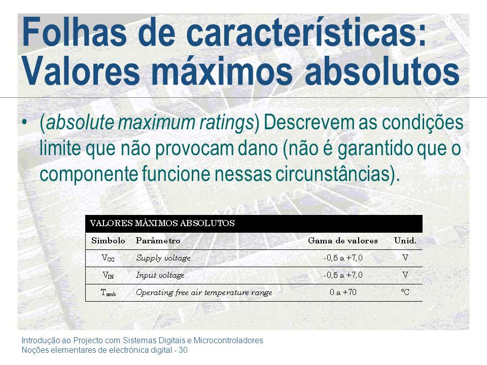 Folhas de características: Valores máximos absolutos