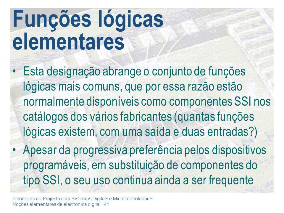 Funções lógicas elementares