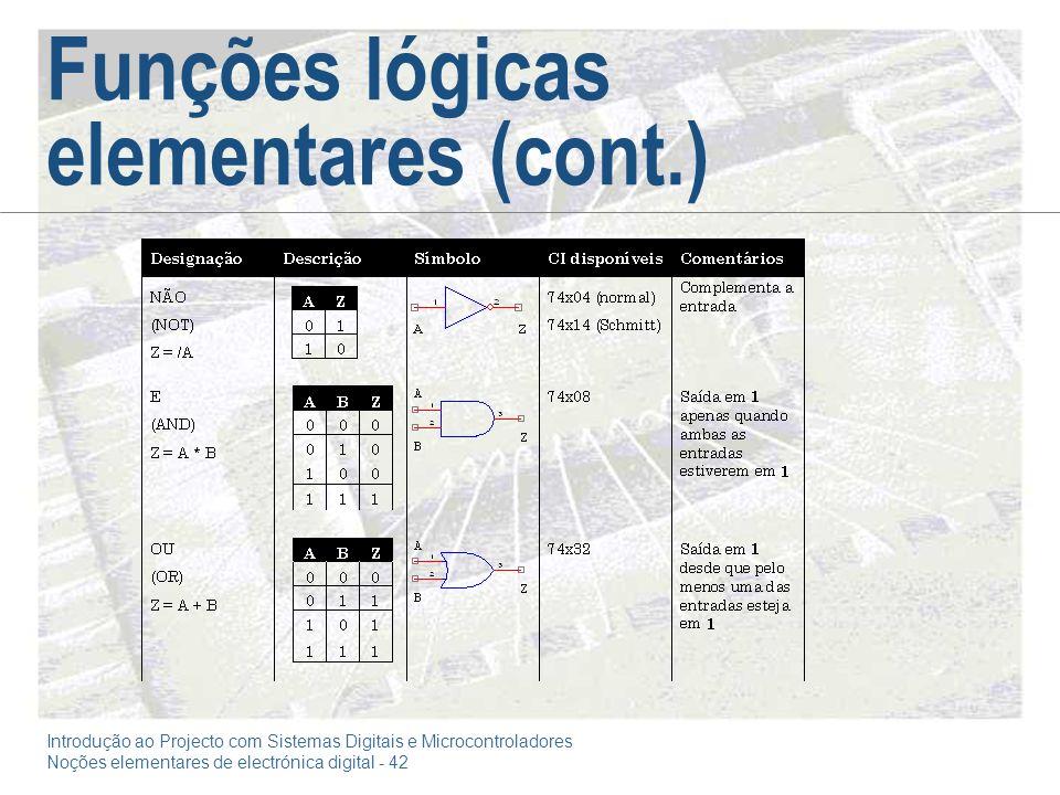 Funções lógicas elementares (cont.)
