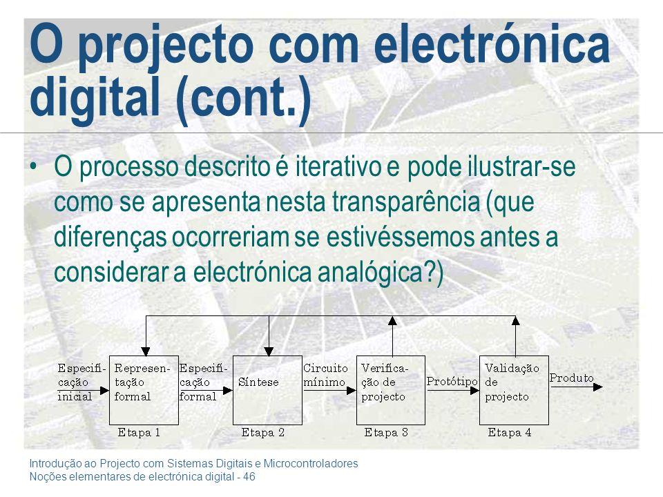 O projecto com electrónica digital (cont.)