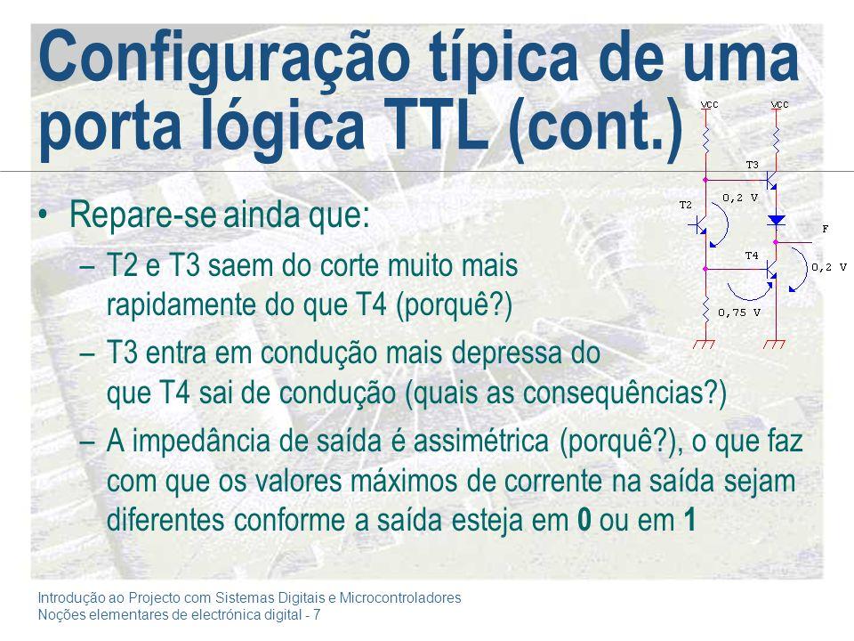 Configuração típica de uma porta lógica TTL (cont.)