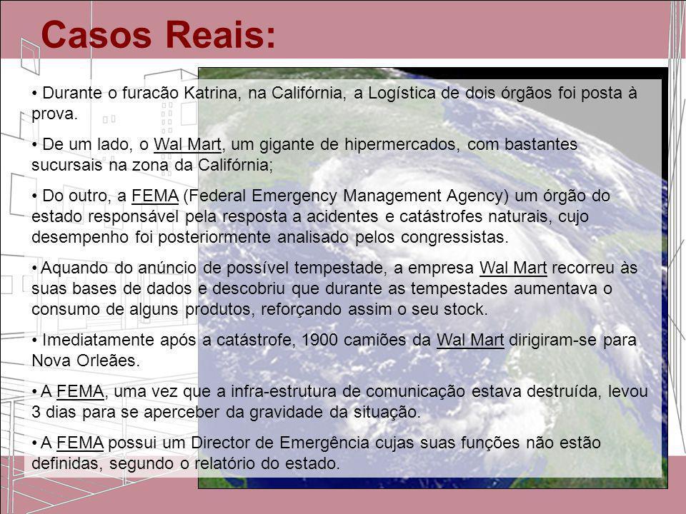 Casos Reais:Durante o furacão Katrina, na Califórnia, a Logística de dois órgãos foi posta à prova.