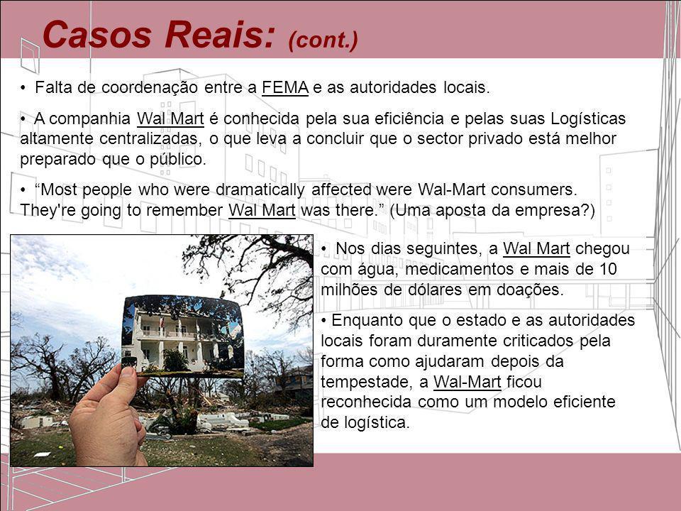 Casos Reais: (cont.)Falta de coordenação entre a FEMA e as autoridades locais.