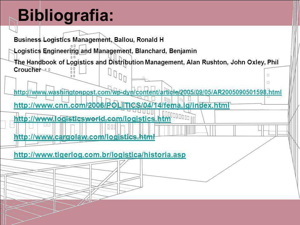 Bibliografia: Business Logistics Management, Ballou, Ronald H. Logistics Engineering and Management, Blanchard, Benjamin.