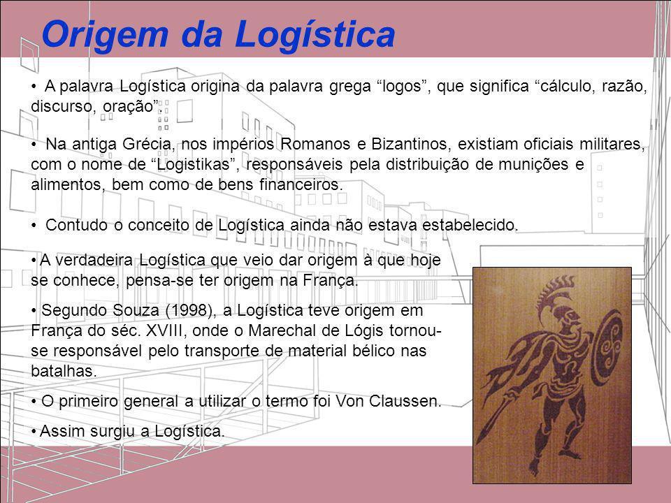 Origem da Logística A palavra Logística origina da palavra grega logos , que significa cálculo, razão, discurso, oração .