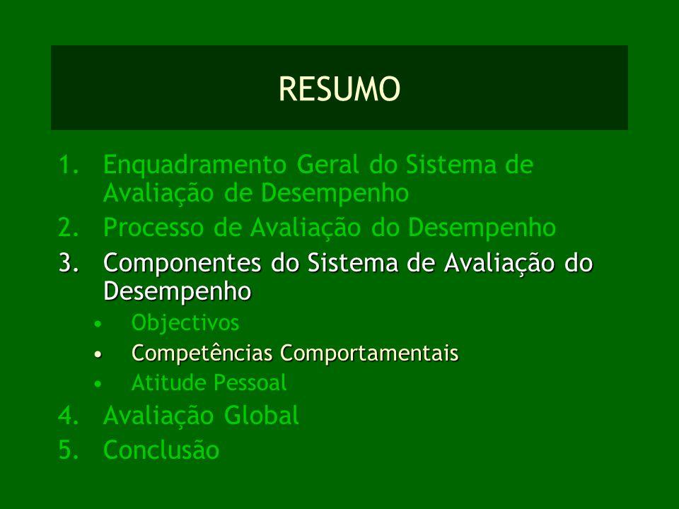 RESUMO Enquadramento Geral do Sistema de Avaliação de Desempenho
