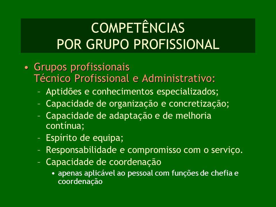 COMPETÊNCIAS POR GRUPO PROFISSIONAL